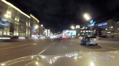 Traffic on street Sadovoe ring near trade center in Moscow Stock Footage