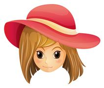 A girl wearing a red hat Stock Illustration