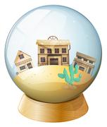 Stock Illustration of Wooden houses inside a dome