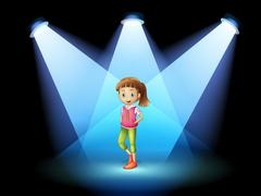 A stage with a young woman at the center - stock illustration