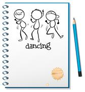 A notebook with a sketch of three people dancing Stock Illustration