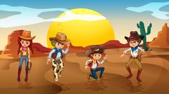 Cowboys and a cowgirl at the desert - stock illustration