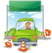 An accident at the road near the empty signboard Stock Illustration