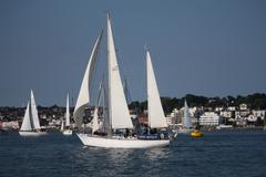 Gipsy moth iv sailbboat sailing on the solent Stock Photos
