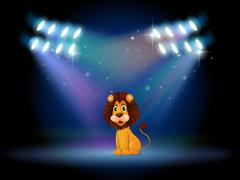 A friendly lion at the center of the stage - stock illustration