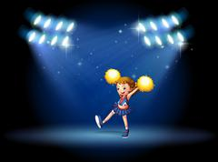 A cheerleader performing on the stage with spotlights - stock illustration