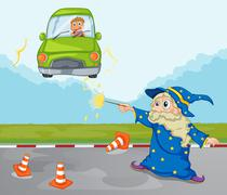 A young boy inside his green car and a wizard Stock Illustration