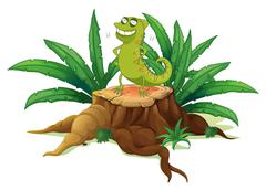Stock Illustration of A green iguana above a trunk