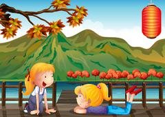 Two girls talking at the wooden bridge - stock illustration