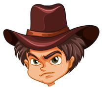 An angry face of a cowboy Stock Illustration