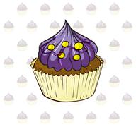 Stock Illustration of A cup cake with violet icing