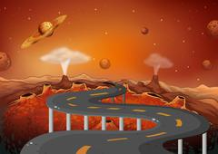 A road with planets in the outer space Piirros