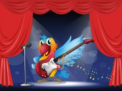 A parrot with a guitar at the stage - stock illustration