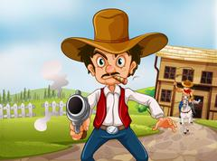 An old man wearing a hat holding a gun with a cigarette - stock illustration