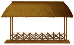 A wooden floating cottage Stock Illustration