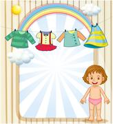 A baby below the hanging clothes - stock illustration
