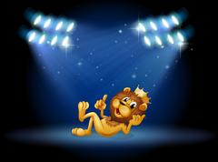 A king lion at the center of the stage Stock Illustration