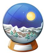 Stock Illustration of A dome with an image of a snowy mountain