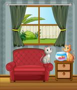 The two cats watching the aquarium - stock illustration