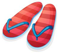 A pair of red slippers - stock illustration