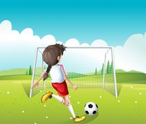 A female soccer player in a white uniform - stock illustration