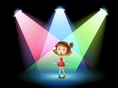 A stage with a young actress - stock illustration