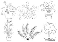 Silhouettes of different shrubs Stock Illustration