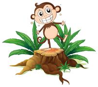 Stock Illustration of A monkey standing above a trunk