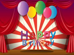 A happy birthday greeting at the stage Stock Illustration