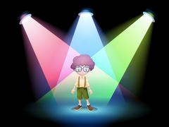 A boy wearing an eyeglass standing on the stage with spotlights - stock illustration
