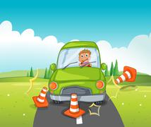 A boy riding on a green car bumping the traffic cones Stock Illustration