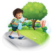 A boy with a bag walking along the street - stock illustration