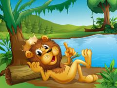 A king lion lying in a trunk at the riverside Stock Illustration