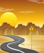 A curved road in the desert - stock illustration