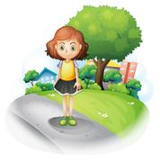 Stock Illustration of A girl standing at the street