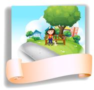 A girl at the bench with her pet at the back of an empty template - stock illustration