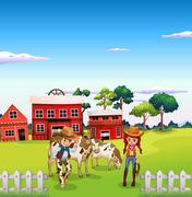 A cowboy and a cowgirl at the farm - stock illustration