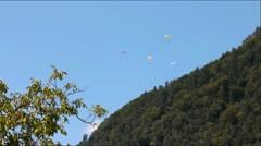 Paragliding on Mount Harder Kulm background. Interlaken Stock Footage