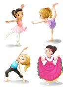 Girls in different sports attire Stock Illustration