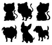 Silhouettes of cats and dogs - stock illustration