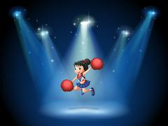 A cheerleader jumping in the middle of the stage Stock Illustration