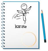 Stock Illustration of A notebook with a sketch of a karate athlete