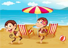 A beach with two monkeys - stock illustration