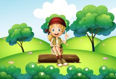 Stock Illustration of A girl sitting on the trunk at the hill
