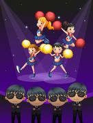 Four cheerdancers dancing with spotlights Stock Illustration