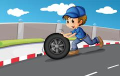A boy pushing a wheel along the road Stock Illustration