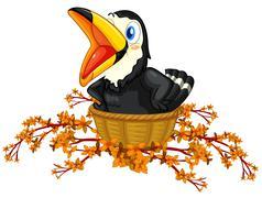 A black bird inside the basket Piirros