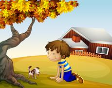 A boy and his puppy under the tree - stock illustration