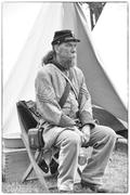 A confederate sergeant waits by his tent before battle, Stock Photos