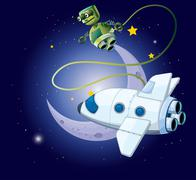 An airship and a robot in the outerspace - stock illustration